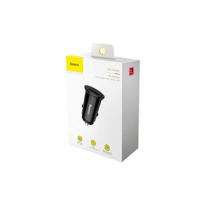 BASEUS CIRCULAR PLASTIC (USB+TYPE-C) YS01 SZIVARGYÚJTÓS GYORSTÖLTŐVÉG FEKETE