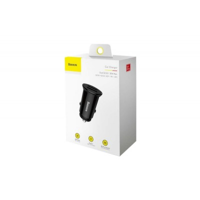 BASEUS CIRCULAR PLASTIC (2 x USB) YD01 SZIVARGYÚJTÓS GYORSTÖLTŐVÉG FEKETE